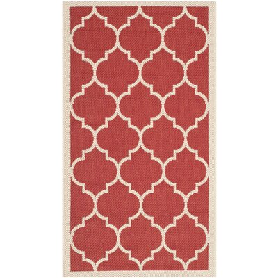 Short Red/Beige Outdoor/Indoor Area Rug Rug Size: Rectangle 8 x 11