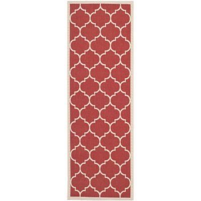 Short Red/Beige Outdoor/Indoor Area Rug Rug Size: Runner 23 x 10