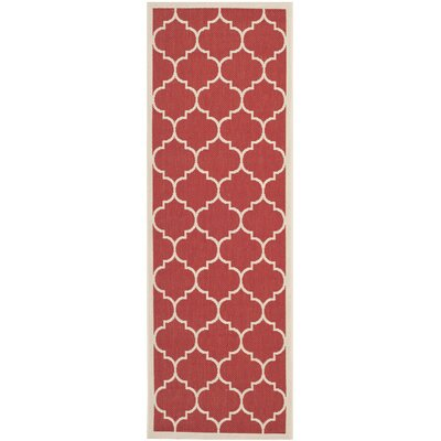 Short Red/Beige Outdoor/Indoor Area Rug Rug Size: Runner 23 x 67