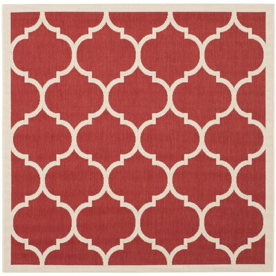Short Red/Beige Outdoor/Indoor Area Rug Rug Size: Square 4