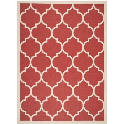 Short Red/Beige Outdoor/Indoor Area Rug Rug Size: Rectangle 9' x 12'
