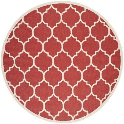 Short Red/Beige Outdoor/Indoor Area Rug Rug Size: Round 7'10