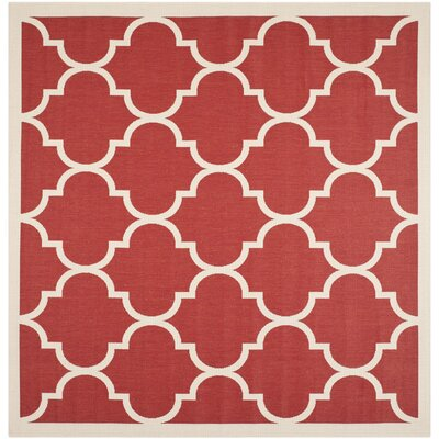 Short Red/Beige Outdoor/Indoor Area Rug Rug Size: Square 7'10