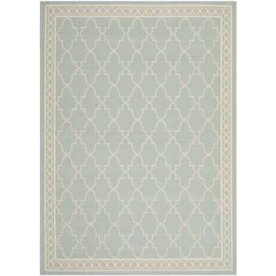 Short Aqua/Beige Outdoor Rug Rug Size: Rectangle 4' x 5'7