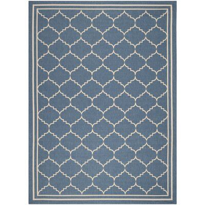 Short Blue/Beige Pattern Outdoor Area Rug Rug Size: 53 x 77