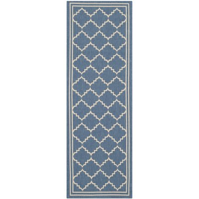 Short Blue/Beige Pattern Outdoor Area Rug Rug Size: Runner 23 x 67