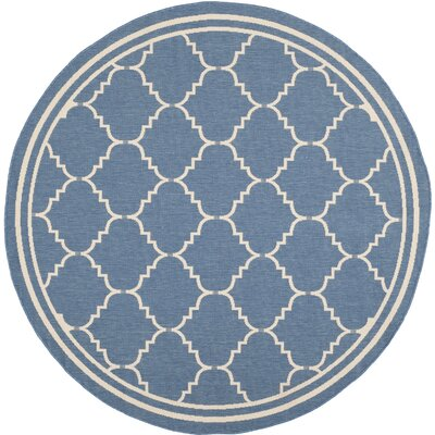 Short Blue Indoor/Outdoor Area Rug Rug Size: Round 67