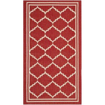 Short Red/Beige Indoor/Outdoor Area Rug Rug Size: Rectangle 2 x 37