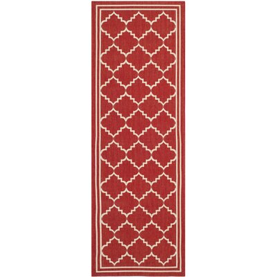 Short Red/Beige Indoor/Outdoor Area Rug Rug Size: Runner 23 x 67