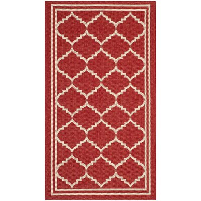 Short Red/Beige Indoor/Outdoor Area Rug Rug Size: Rectangle 27 x 5