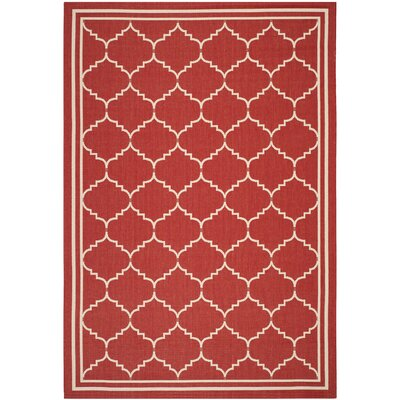 Short Red/Beige Indoor/Outdoor Area Rug Rug Size: Rectangle 53 x 77