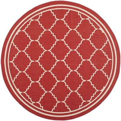 Welby Red/Beige Outdoor Area Rug Rug Size: Round 67