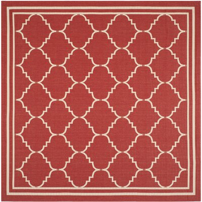 Welby Red/Beige Outdoor Area Rug Rug Size: Square 67