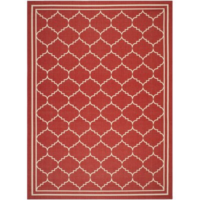 Short Red/Beige Outdoor Area Rug Rug Size: 8' x 11'