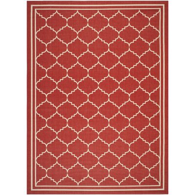 Short Red/Beige Outdoor Area Rug Rug Size: 9 x 12