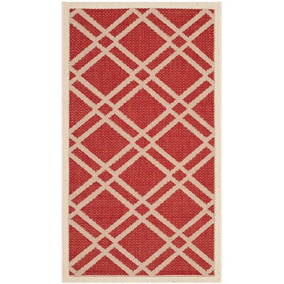 Short Red/Bone Indoor/Outdoor Area Rug Rug Size: Rectangle 2 x 37
