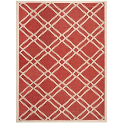 Short Red/Bone Outdoor Rug Rug Size: 9 x 12