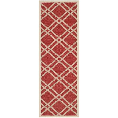 Short Red/Bone Indoor/Outdoor Area Rug Rug Size: Runner 23 x 10