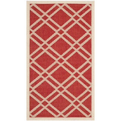Short Red/Bone Indoor/Outdoor Area Rug Rug Size: Rectangle 27 x 5