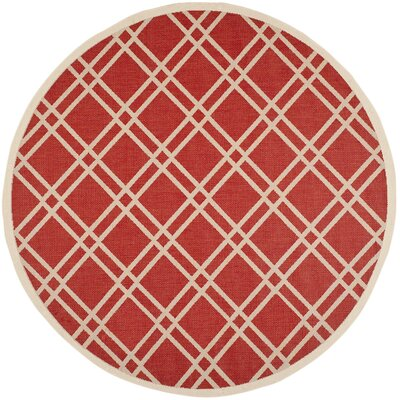 Welby Red/Bone Outdoor Rug Rug Size: Round 710