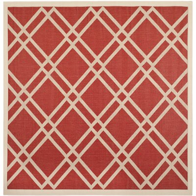 Welby Red/Bone Outdoor Rug Rug Size: Square 710