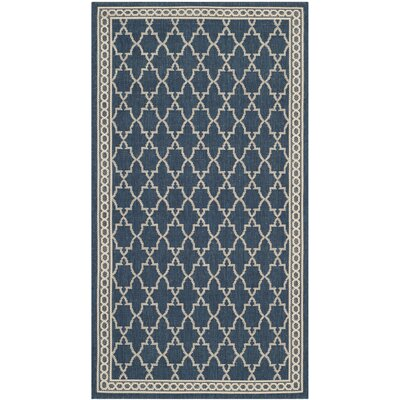 Short Navy/Beige Outdoor Sisal Area Rug Rug Size: 53 x 77