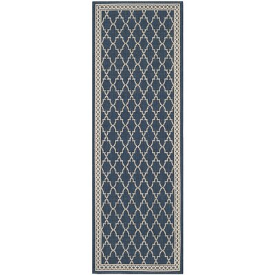 Short Navy/Beige Outdoor Sisal Area Rug Rug Size: Rectangle 27 x 5