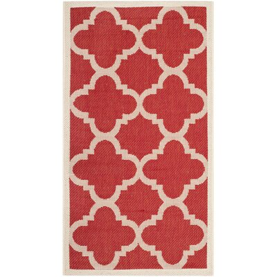 Short Red/Beige Indoor/Outdoor Area Rug Rug Size: Rectangle 4 x 57