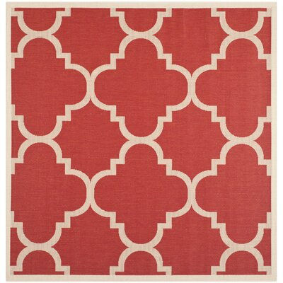 Short Red/Beige Indoor/Outdoor Area Rug Rug Size: Square 4