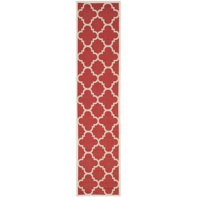 Short Red/Beige Indoor/Outdoor Area Rug Rug Size: Runner 23 x 10