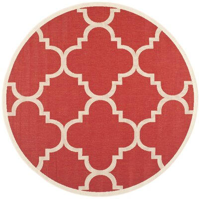 Short Red/Beige Indoor/Outdoor Area Rug Rug Size: Round 67