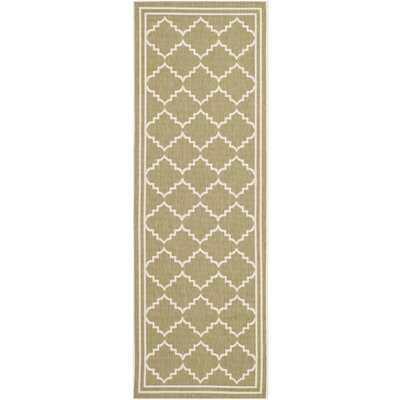 Short Green/Beige Outdoor Rug Rug Size: Runner 23 x 10