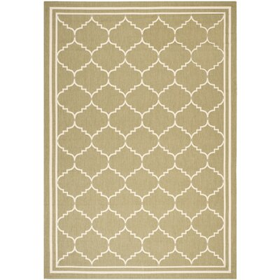 Short Green/Beige Outdoor Rug Rug Size: 53 x 77