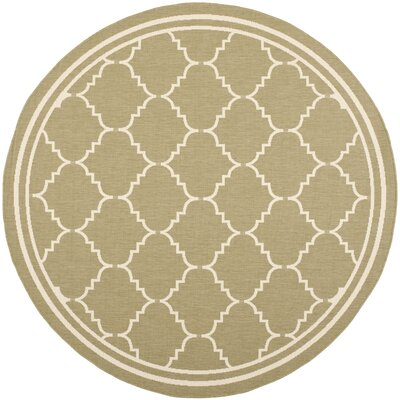Short Green/Beige Outdoor Rug Rug Size: Round 67