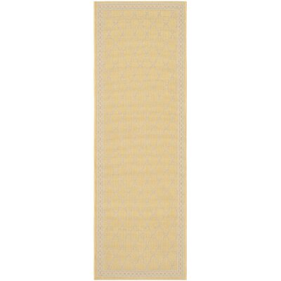 Short Yellow/Beige Indoor/Outdoor Rug Rug Size: Runner 23 x 67
