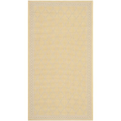 Short Yellow/Beige Indoor/Outdoor Rug Rug Size: Rectangle 27 x 5
