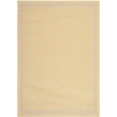 Short Yellow/Beige Indoor/Outdoor Rug Rug Size: 53 x 77