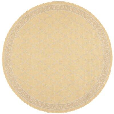 Short Yellow/Beige Indoor/Outdoor Rug Rug Size: Round 67