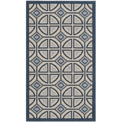 Short Beige Indoor/Outdoor Rug Rug Size: Rectangle 27 x 5