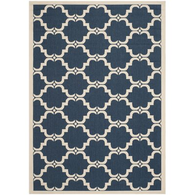 Welby Navy/Beige Indoor/Outdoor Rug Rug Size: 4 x 57