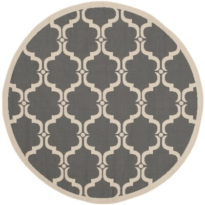 Welby Anthracite/Beige Geometric Contemporary Rug Rug Size: Round 5