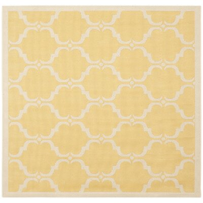 Welby Yellow/Beige Geometric Contemporary Rug Rug Size: Square 5