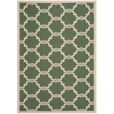 Welby Dark Green/Beige Geometric Contemporary Rug Rug Size: 4 x 57