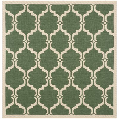 Welby Dark Green/Beige Geometric Contemporary Rug Rug Size: Square 5