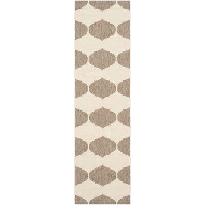 Short Beige/Brown Contemporary Rug Rug Size: Runner 23 x 12