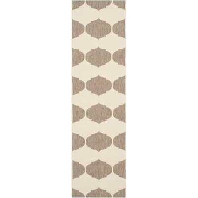 Short Beige/Brown Contemporary Rug Rug Size: Rectangle 27 x 5