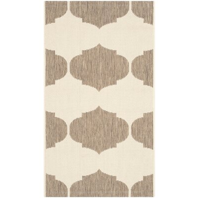 Short Beige/Brown Contemporary Rug Rug Size: Rectangle 53 x 77