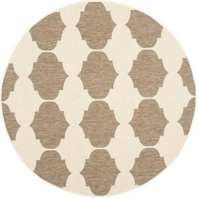 Short Beige/Brown Contemporary Rug Rug Size: Round 53