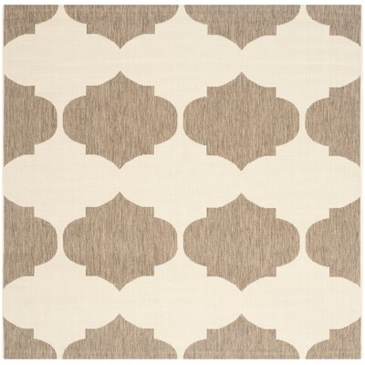 Short Beige/Brown Contemporary Rug Rug Size: Square 53