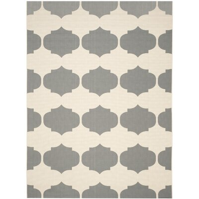 Short Beige/Anthracite Contemporary Rug Rug Size: 53 x 77